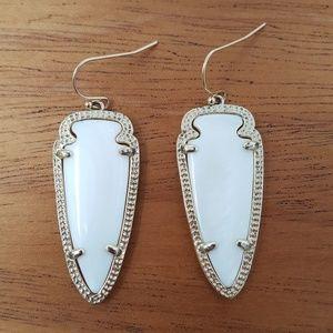 Kendra Scott White Skylar Arrowhead Earrings